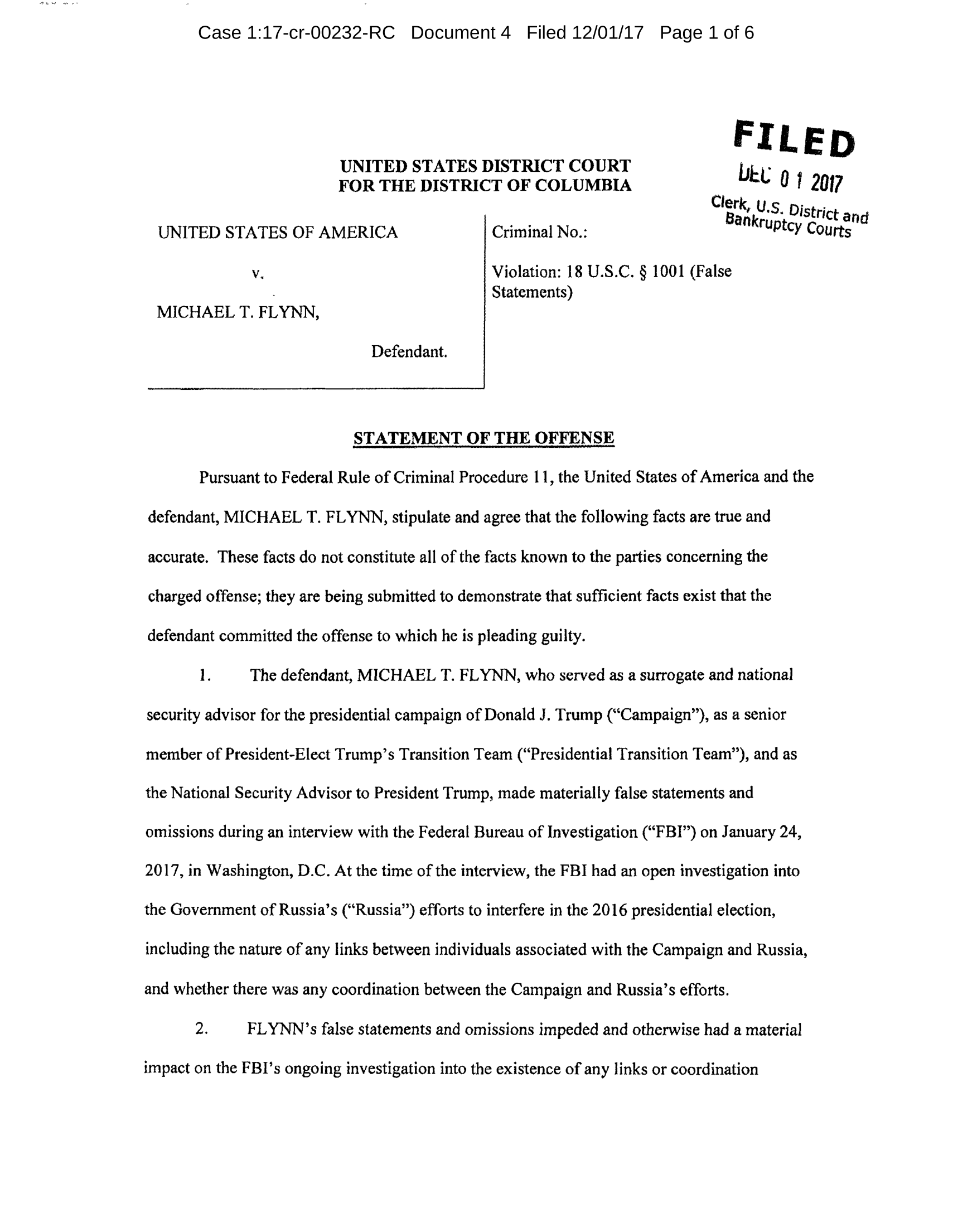 Michael Flynn Statement of the Offense