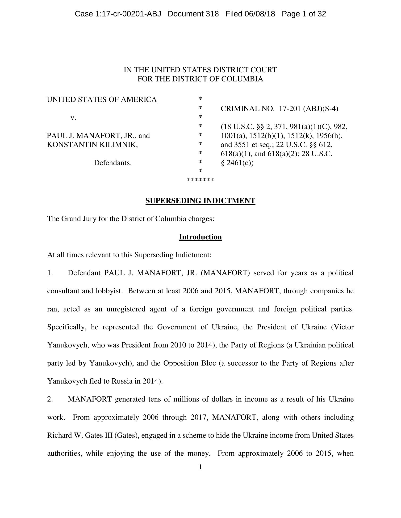 Paul Manafort & Konstantin Kilimnik Superseding Indictment