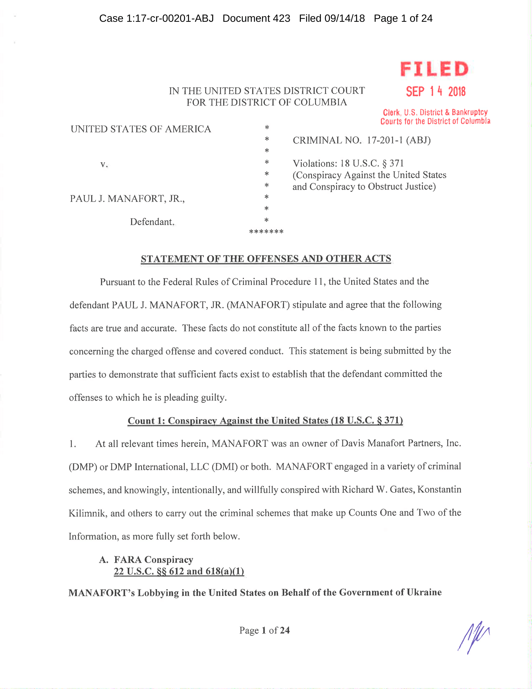 Paul Manafort Statement of the Offense